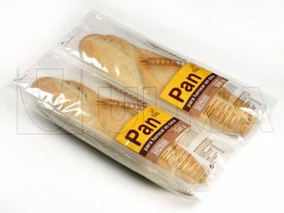 Empacado de pan baguette para hornear en casa en termoformado
