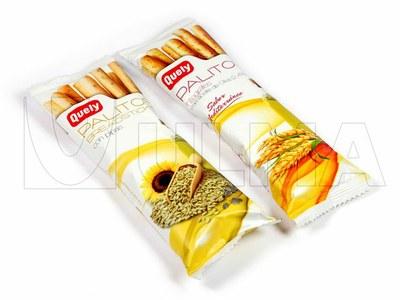 Empacado de snack de palitos de pan tostado con cereales en flow pack (hffs)