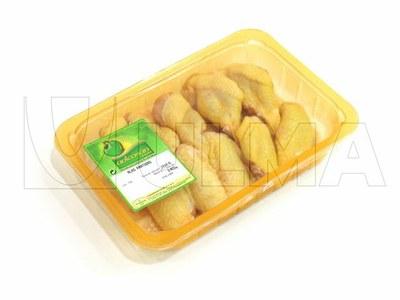 Empacado de alitas de pollo en termosellado