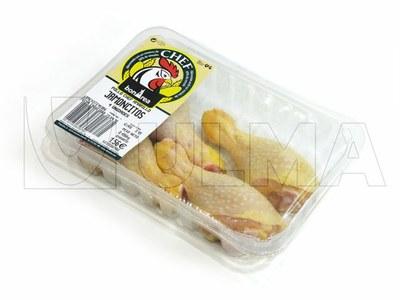 Empacado de muslos de pollo en termosellado
