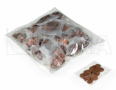 Empacado de monedas y agrupacion de bolsas en vertical en film LDPE.