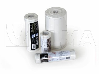 Empacado de rollos de manteles de tela individuales en retráctil con film poliolefina